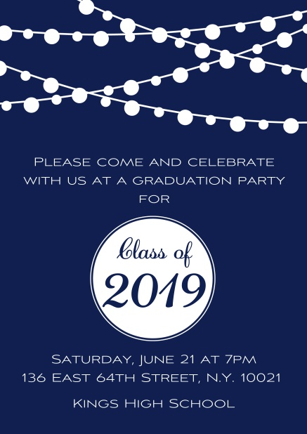 Class of 2019 graduation online invitation card with party lanterns. Navy.