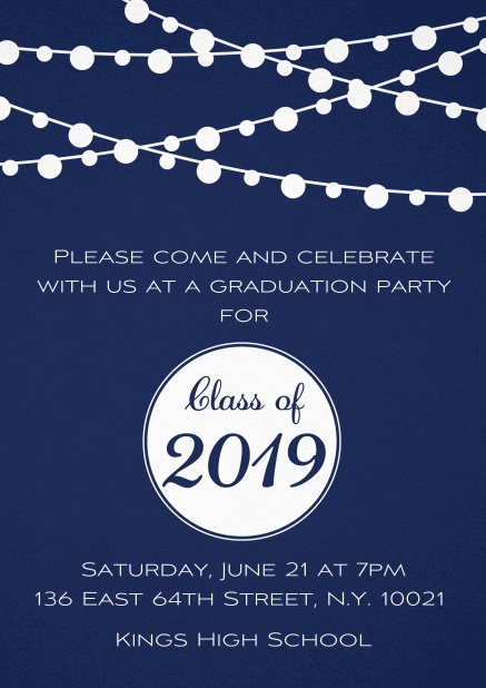 Class of 2019 graduation invitation card with party lanterns. Navy.