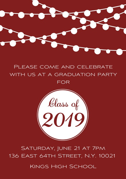 Class of 2019 graduation online invitation card with party lanterns. Red.