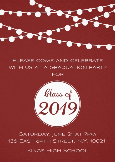 Class of 2019 graduation invitation card with party lanterns. Red.