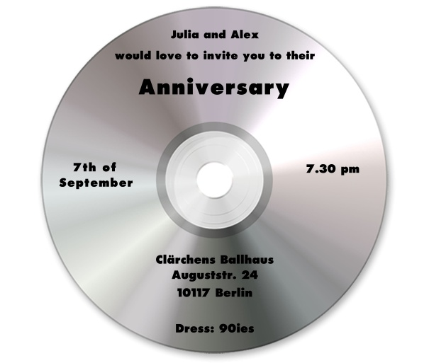 Online invitation card designed as a silber CD.
