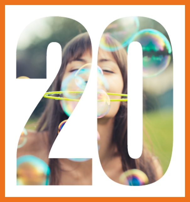 Online invitation card with cut out 20 for own photo, great for 20th Birthday invitations Orange.