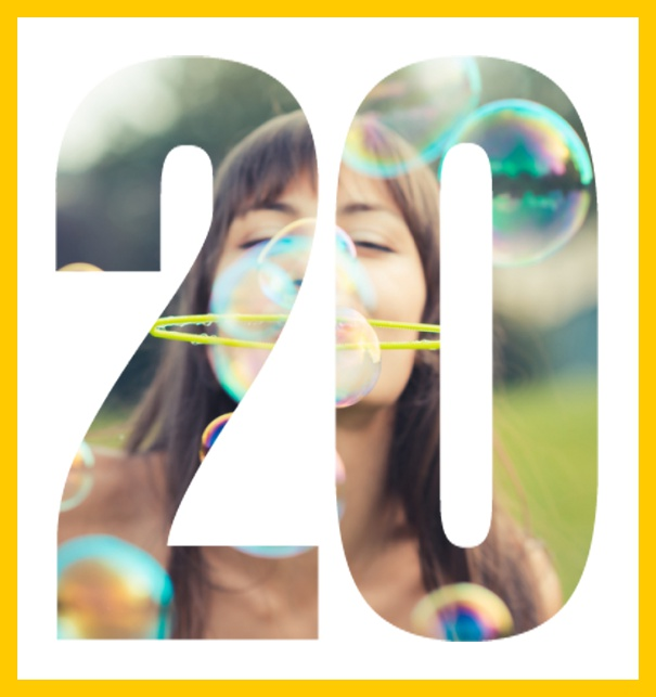 Online invitation card with cut out 20 for own photo, great for 20th Birthday invitations Yellow.