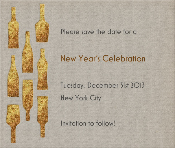 Beige Event Celebration Save the Date Card with Gold Champagne Bottles.
