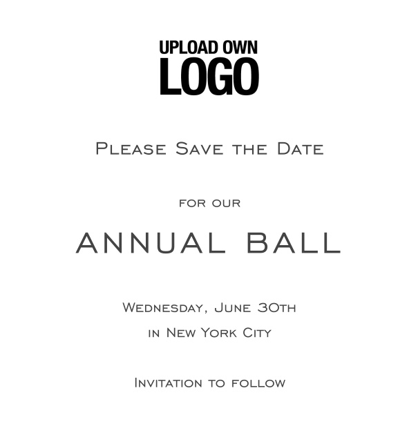 Online Save the Date template for corporate events and annual ball with bright background and text box in the middle with space on the top to upload own logo.