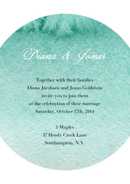 Online Wedding invitation card with water color oval background for text.