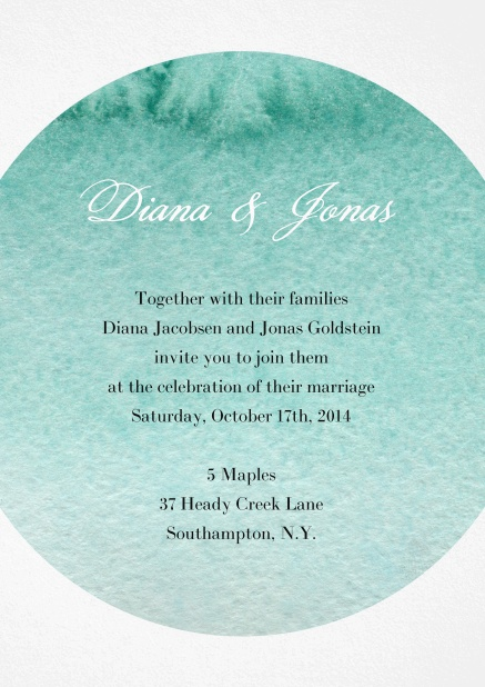 Wedding invitation card with water color oval background for text.