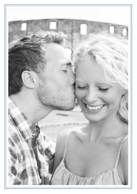 Online Classic Wedding save the date card in portrait with photo and fein double lined frame in choosable colors. Blue.