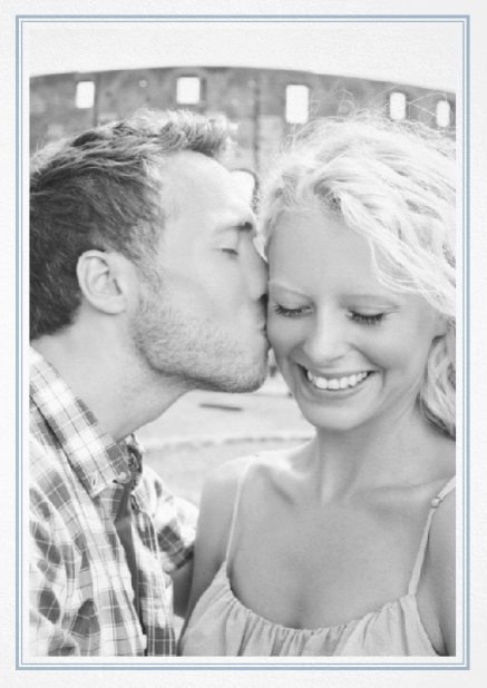 Classic Wedding save the date card in portrait with photo and fein double lined frame in choosable colors. Blue.