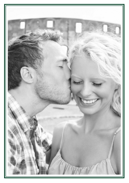 Online Classic Wedding save the date card in portrait with photo and fein double lined frame in choosable colors. Green.