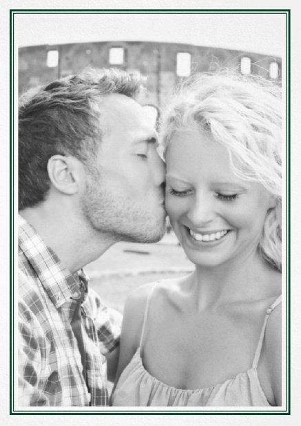Classic Wedding save the date card in portrait with photo and fein double lined frame in choosable colors. Green.