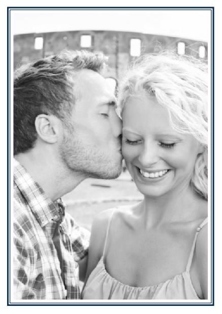 Online Classic Wedding save the date card in portrait with photo and fein double lined frame in choosable colors. Navy.