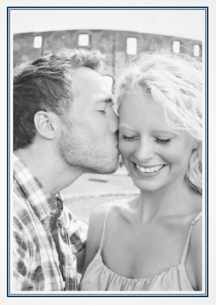 Classic Wedding save the date card in portrait with photo and fein double lined frame in choosable colors. Navy.