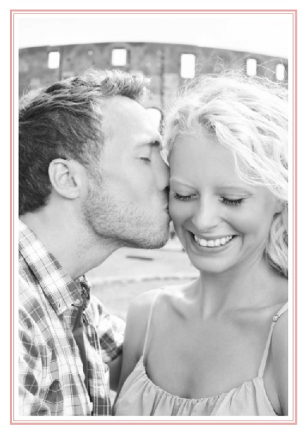 Online Classic Wedding save the date card in portrait with photo and fein double lined frame in choosable colors. Pink.