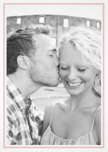 Classic Wedding save the date card in portrait with photo and fein double lined frame in choosable colors. Pink.