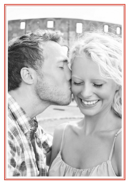 Online Classic Wedding save the date card in portrait with photo and fein double lined frame in choosable colors. Red.
