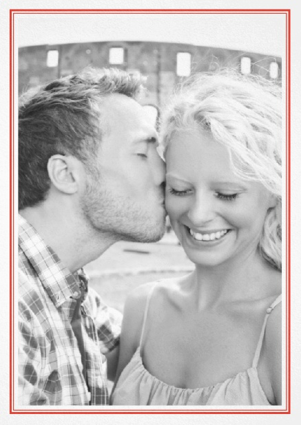 Classic Wedding save the date card in portrait with photo and fein double lined frame in choosable colors. Red.