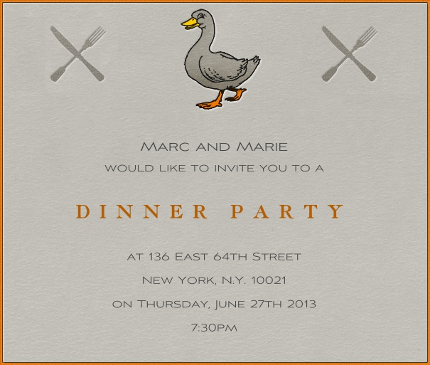 Grey Dinner Invitation Card with Red Border, duck and Cutlery.