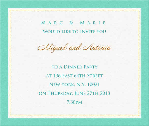 White Dinner Invitation with Blue and Gold Border.