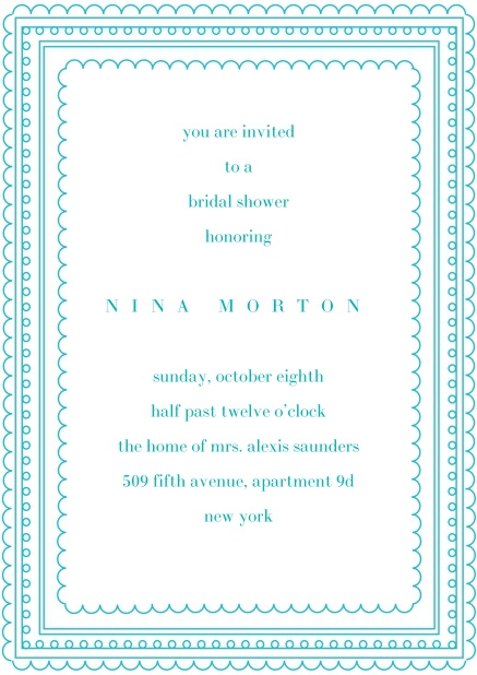 Online Wedding invitation card with several blue, thin frames around a text field.