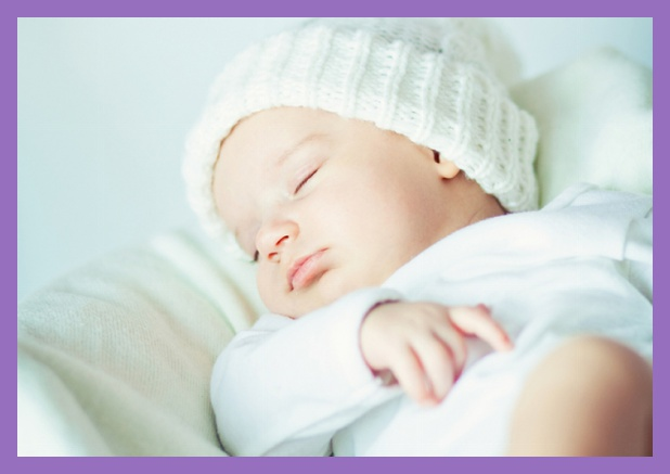 Birth announcement card with photo and frame in optional colors. Purple.