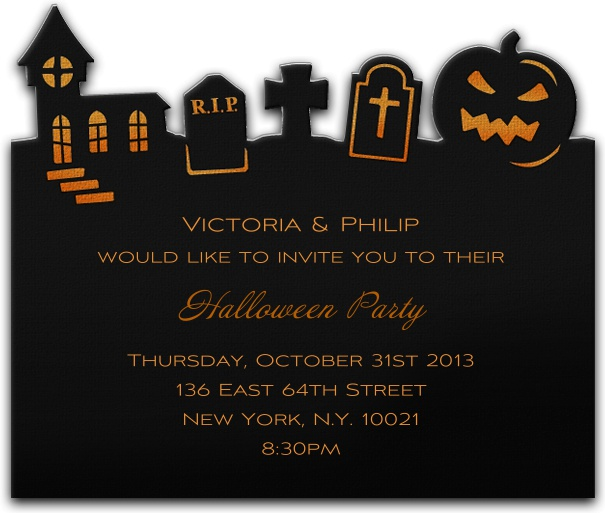 Square Halloween themed Invitation Card Customizable with Halloween motif.