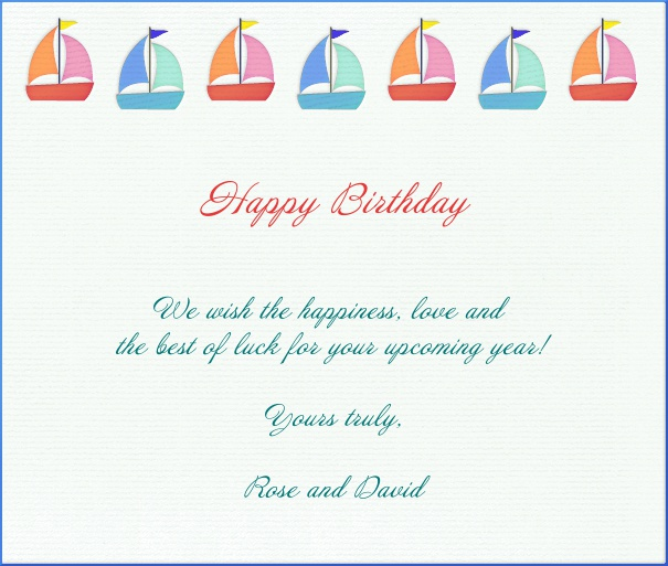 White Children's Card with sailboats.