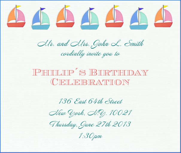 Light Tan Kids' Birthday Party online Invitation design with Sailboats.