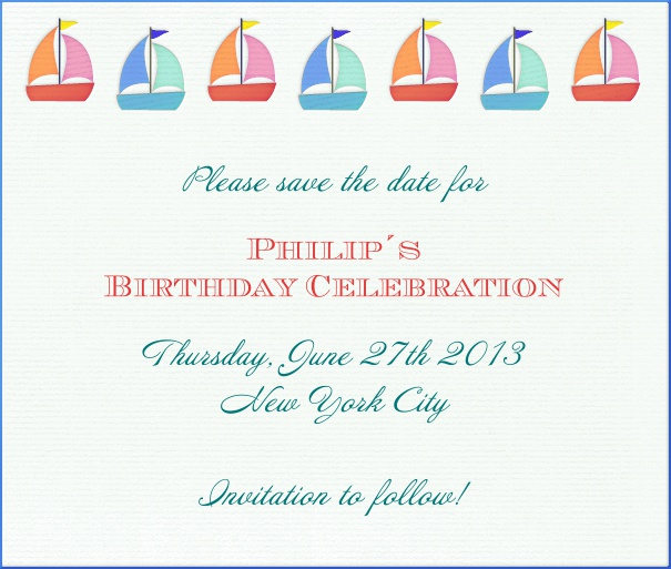 White Kids' Birthday Party Save the Date with Sailboat Theme.
