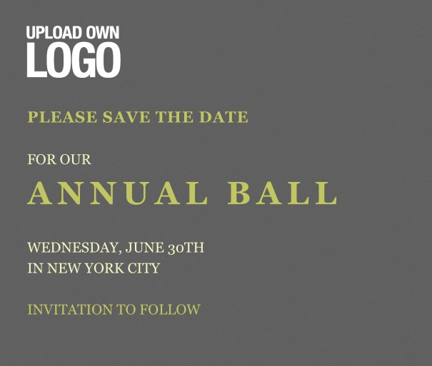 Squared grey Save the Date template for corporate events and annual ball with text box in the middle with space on the top to upload own logo.
