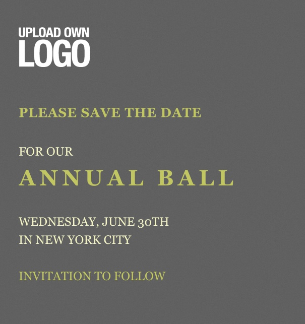 Rectangular dark grey Save the Date template for corporate events and annual ball with text box in the middle with space on the top to upload own logo.