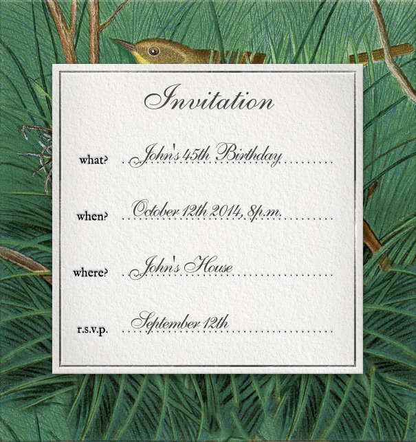 Formal Addressing E-Card with Forest Scene and Customizable Text.
