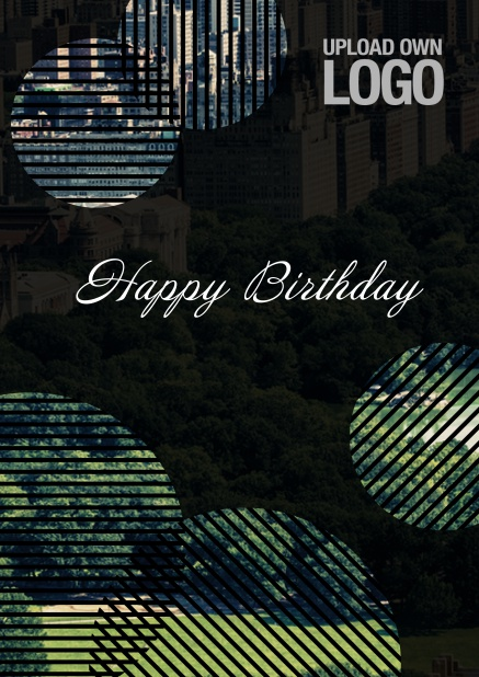 Online Dark Corporate Birthday greeting card with circular photo fields with artistic lines.