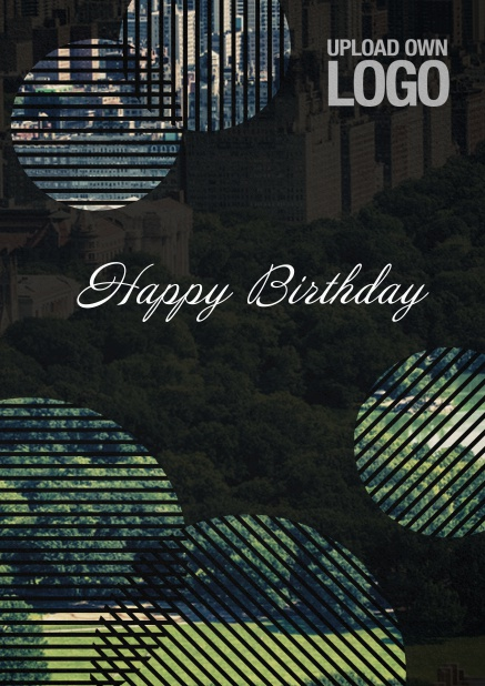 Dark Corporate Birthday greeting card with circular photo fields with artistic lines.
