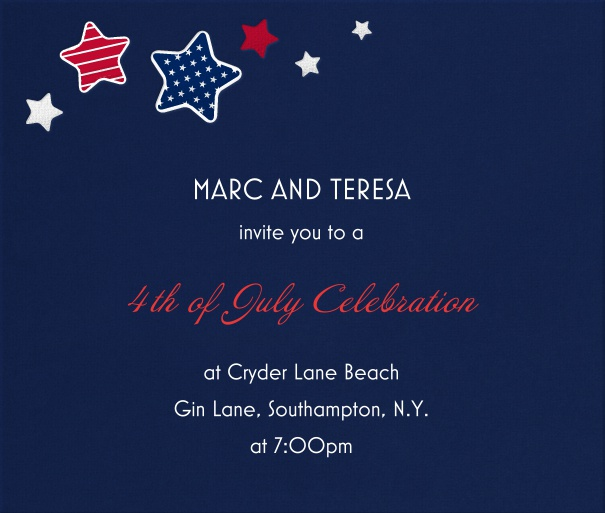 Blue American Themed Invitation Card With Red White and Blue Stars.