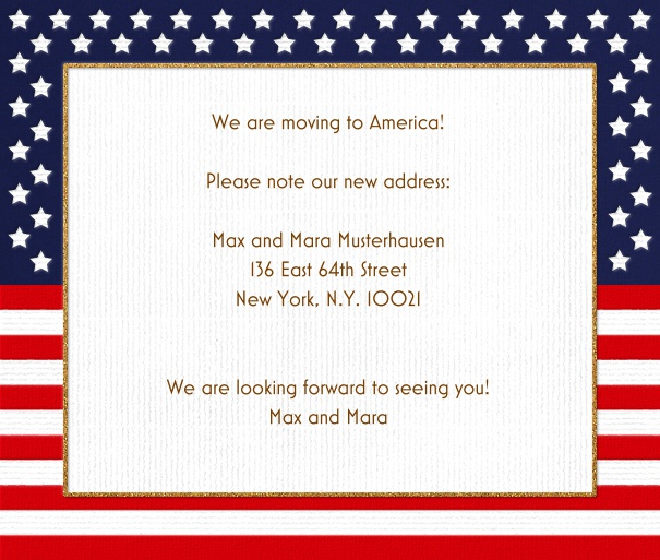 white square format card with a frame of the United States of America flag with stars and stripes. Including designed Mostra Nuova and Bickham font in gold and red to match card.