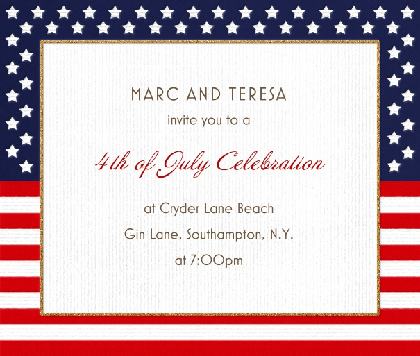 American Themed Invitation with American Flag Background.