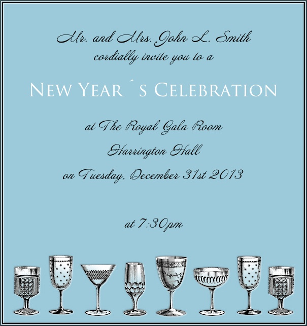 High Format Light Blue Celebration Invitation Card with Champagne Glasses and customizable text.
