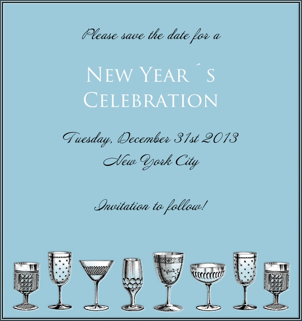 High Light Blue Celebration Save the Date With Cocktail Glasses.