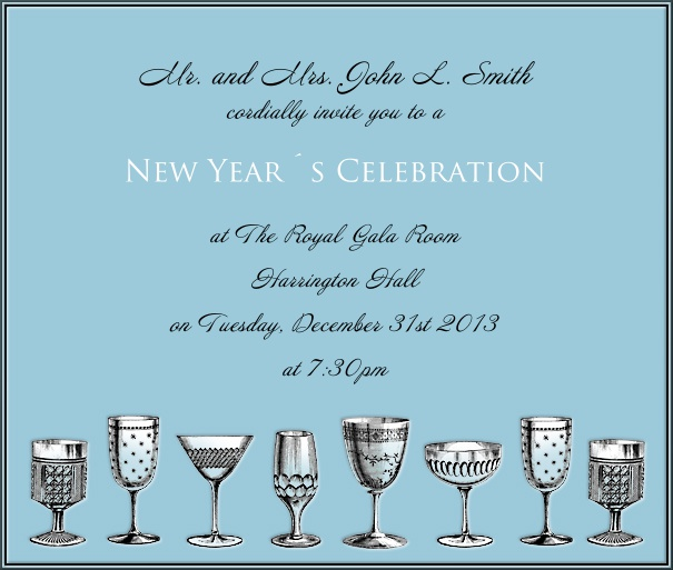 Square Light Blue Celebration Invitation Card with Champagne Glasses and customizable text.