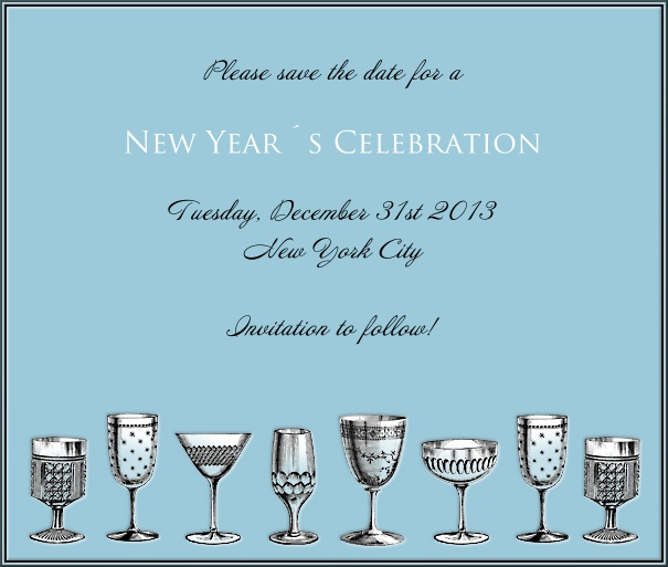 Light Blue Celebration Save the Date With Cocktail Glasses.