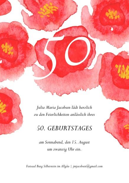 50 Blumen Zum 50 50 Geburtstag