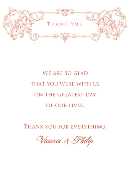 Online Thank you card with red deco at the top.