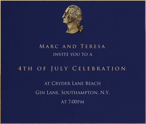 Blue American Themed Invitation Card with Bust of Washington.