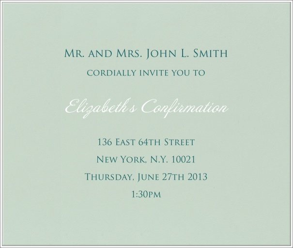 Light green Invitation Template for Christening and Confirmation with thin white border.