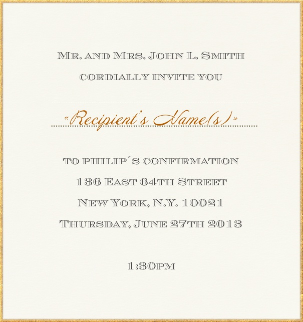 Paper colored Christening and Confirmation Invitation with gold border.
