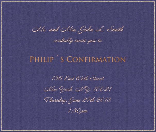 Blue Invitation Card for Christening and Confirmation with gold border.