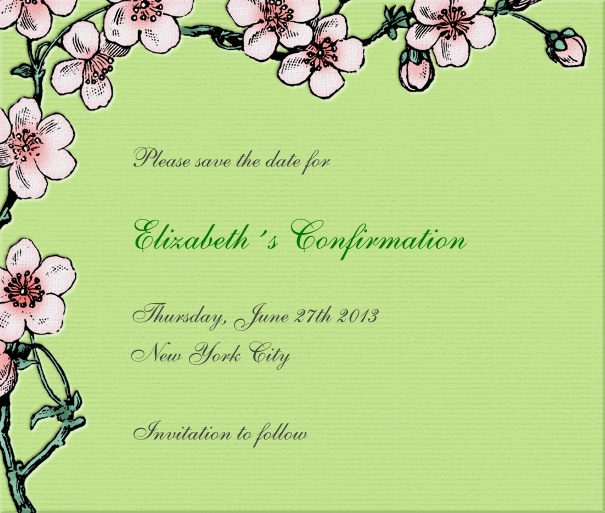 Green Spring themed Christening and Confirmation Save the Date design with flowers.
