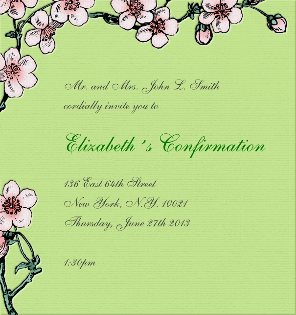 Green Christening and Confirmation Invitation with pink flower border.