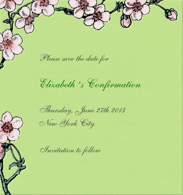 High format Green Spring themed Christening and Confirmation Save the Date design with flowers.